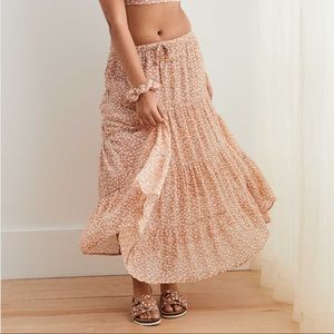 Aerie Tan Patterned Tiered Peasant Maxi Skirt S